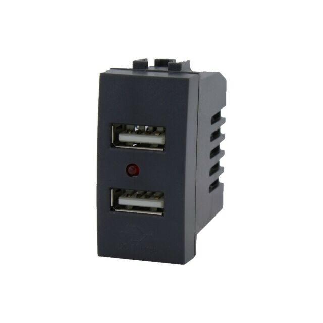 PRESA USB X2 90-265V~ 50/60Hz 2.1A 5V 1A 1M NERO COMPATIBILE LIVING BTICINO