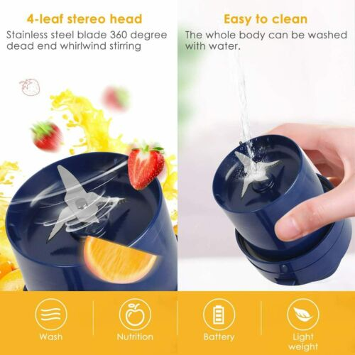 USB Power Portable Eletric Machine Fruit Smoothie Juicer Blender Bottle Cup 11oz