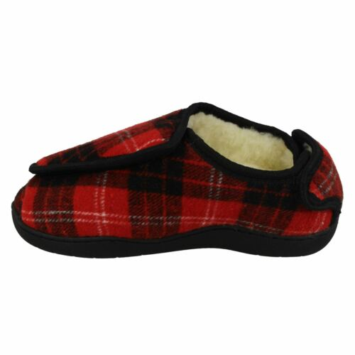 Wide Opening Spot On CT16008 Wide Fit Memory Foam Fur Lined E-5E FIT Slippers
