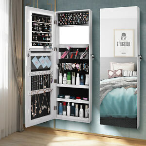 Image Is Loading Wall Door Mounted Mirrored Jewelry Cabinet Armoire Storage