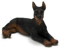 Dollhouse Miniature Dog Doberman Black Laying Down Falcon Minis 1:12 Scale