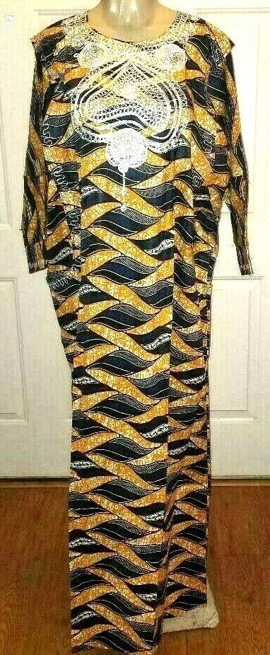 Beautiful bluee and Yellow Traditional Tribal Dashiki Plus Size One Size