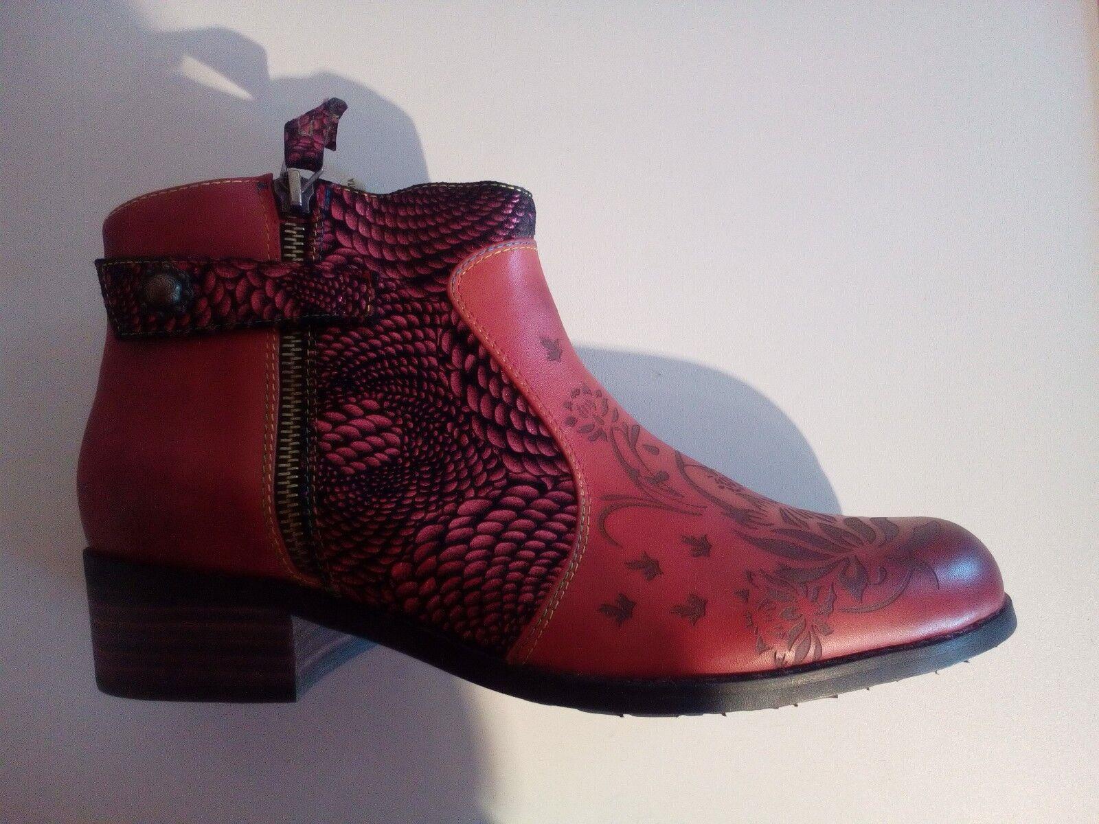 Laura vita Alice 007 señora botines de cuero rojo-combina tamaño 41-42 nuevo