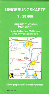 Wanderkarte, Umgebungskarte, Rangsdorf - Zossen - Wünsdorf, 1991