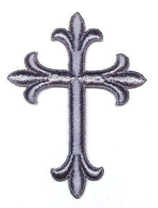 Vintage-Liturgical-Croce-Ricamato-Termoadesivo-Argento-7-6cm-x-10-2cm-Toppa-2-Pz