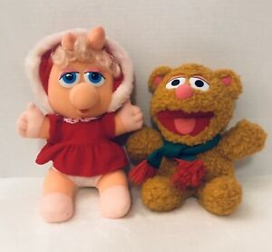 1988-Christmas-Baby-Miss-Piggy-Plush-And-1987-Christmas-Baby-Fozzie-Lot-Of-2
