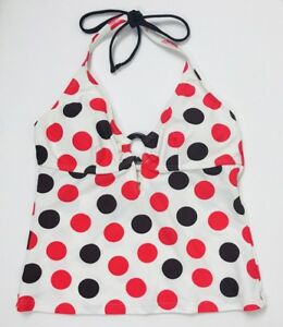 61ed1af4a5486 Beach Diva Tankini Top Halter Size 8 White Red Polka Dot Lightly ...