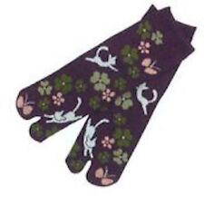 Chaussettes japonaises TABI Geisha femme,homme,enfant 34 au 39 violet chat blanc