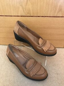Suede Wedge Loafers Shoes UK 4.5