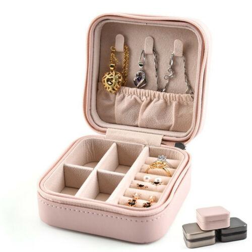 Leather Jewelry Box Organizer Portable Travel Jewellery Ornaments Case Storage