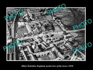 OLD-LARGE-HISTORIC-PHOTO-OF-ILKLEY-YORKSHIRE-ENGLAND-AERIAL-VIEW-OF-TOWN-1930-2