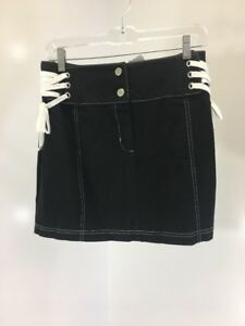 6caa17a4b ASOS WOMEN'S MINI SKIRT WITH LACE UP SIDES BLACK/WHITE UK:10/US:6 ...