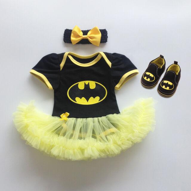 3PCS Baby Girls Batman Superhero Newborn Romper Tutu Dress Party Outfits Clothes