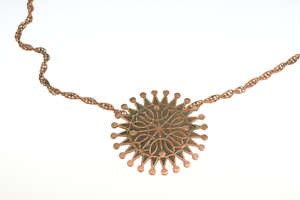 Vintage-Bell-Trading-Post-Copper-Pendant-Souvenir-Necklace-Sun-Starburst