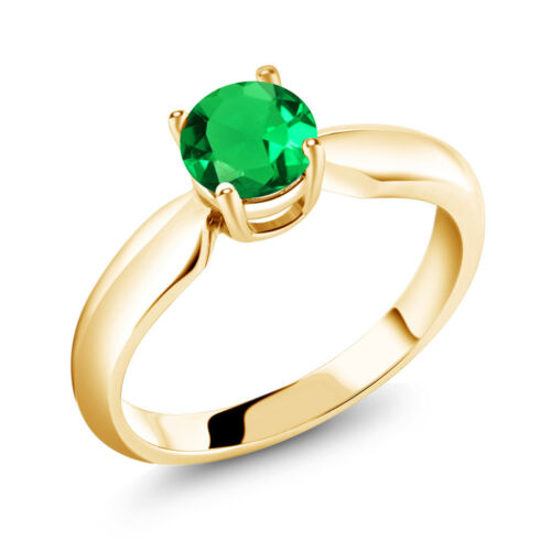 0.77 Ct Round Green Simulated Emerald 18K Yellow Gold Plated Silver Ring