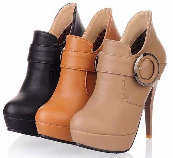Botines botas zapatos de tacón mujer perno 12.5 cm como piel elegantes 9072