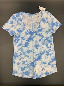 Gap Women's Size XS Ribbed V Neck Tie Dye Sky Blue T- Shirt,NWT