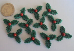 image is loading 12 small edible christmas holly sugar paste cake