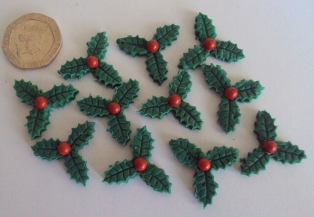 24 small edible christmas holly sugar paste cake cupcake toppers decorations