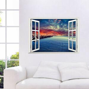 3D-Landschaft-Meer-Fensterbild-Wandsticker-Wandtattoo-See-Urlaub-Wandaufkleber