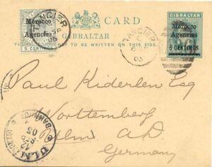2028-MOROCCO-AGENCIES-1905-EVII-5-Centimos-PROVISIONAL-postcard-034-TANGIER-A26-034