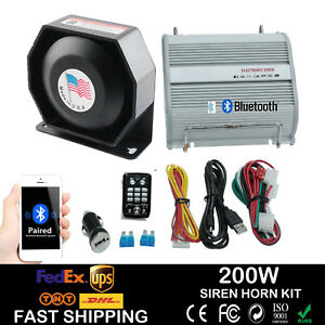 New 200W Car Alarm Police Fire Loud Speaker PA Siren Horn+Bluetooth System Kit