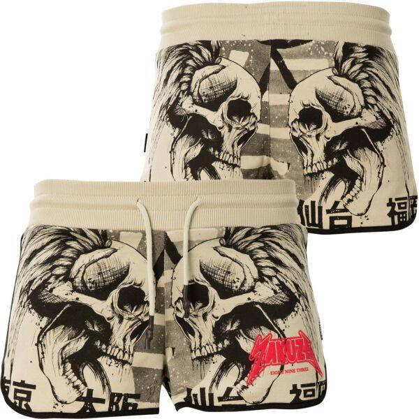 YAKUZA Shorts Screaming Skull Sweat GSSB-16149 Pelican Beige Damen