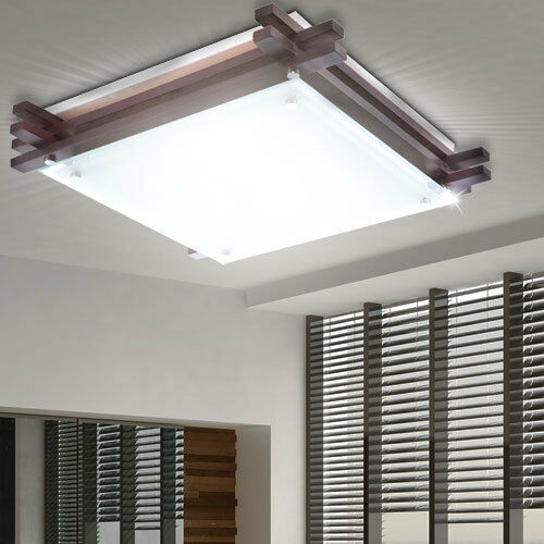 Design Decken Strahler Holz Arbeitszimmer Glas Büro Leuchte satiniert 2-flammig