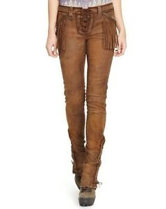 modern techniques dependable performance new Details about Polo Ralph Lauren Stretch Leather Pants Fringed Boulder Brown  Sz 6 10 $1498 NWT