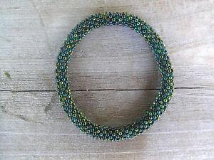 Peacock-Green-Beaded-Bracelet-roll-on-your-wrist-Handmade-SB40