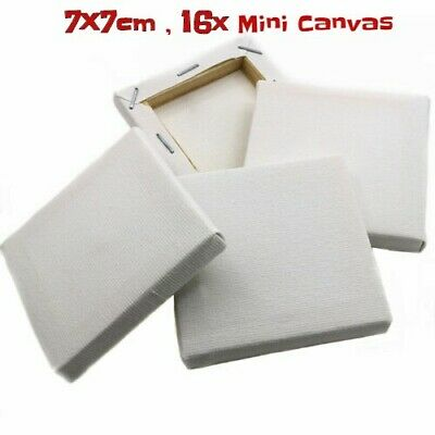"""24pcs /""""WHITE MINI CANVASES/"""" 7cm x 7cm-Artist Stretched ACRYLIC//OIL Paint Framed"""