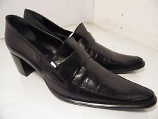 Bagatt Black Leather Bootie Pumps point Toe Heel Shoes Womens Size 39 Italy