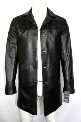 Men/'s Inferno Casual Overcoat Knee Length Style Black Real Leather Trench Coat