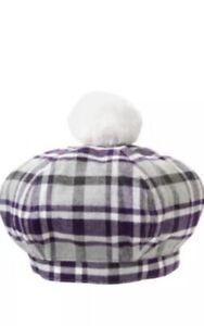 GYMBOREE-SUGARPLUM-SPARKLE-PLAID-BERET-HAT-2T-3T-Big-Pom-Pom-Cool-Hat-Fall-Baby