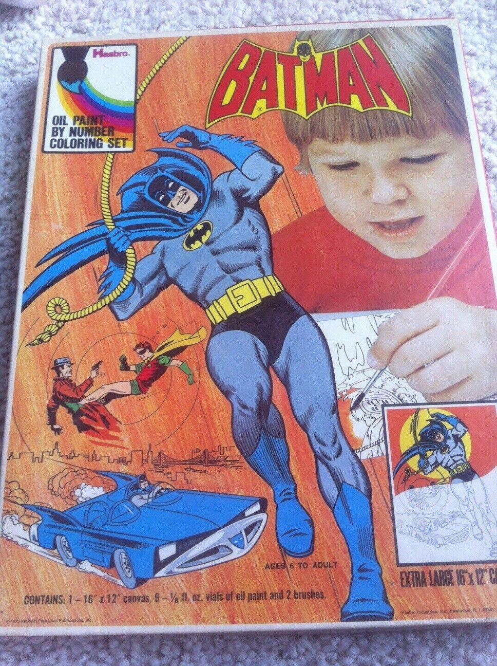 VINTAGE 1973 BATMAN OIL PAINT BY NUMBERS SET  NEVER USED  MIB