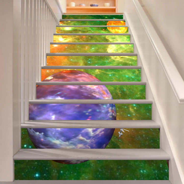 3D colorful Space 6 Stair Risers Decoration Photo Mural Vinyl Decal Wallpaper AU