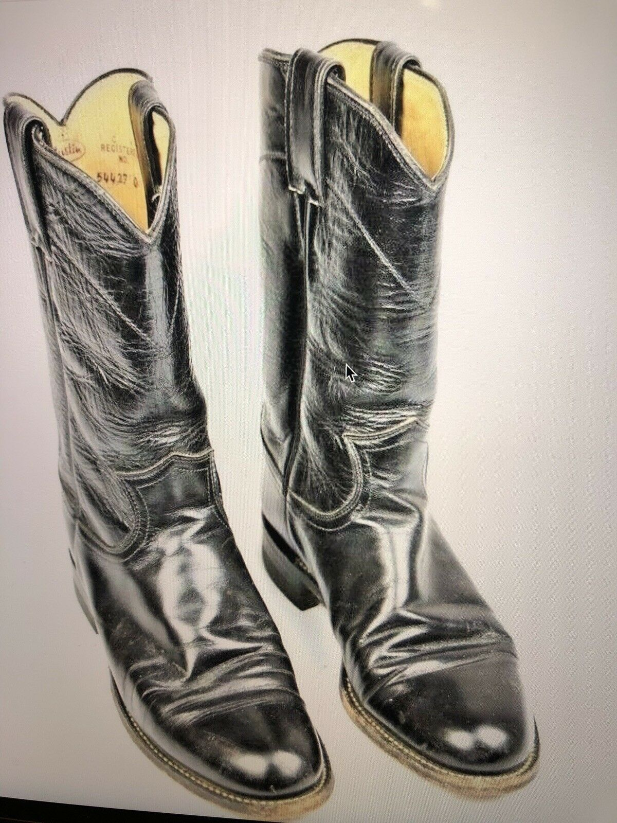 Justin Black Leather Roper Cowboy Western Boots Womens Size 6 B Style L3703 USA