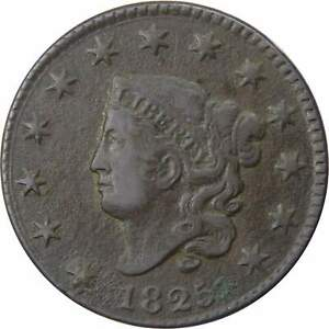 1825-1c-Coronet-Head-Large-Cent-Penny-Coin-VF-Very-Fine-Details