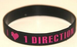 "One Direction 1d ""i & Lt3 Love 1 Direction' Black Bracelet Bracelet * Jour Même Poste-afficher Le Titre D'origine"