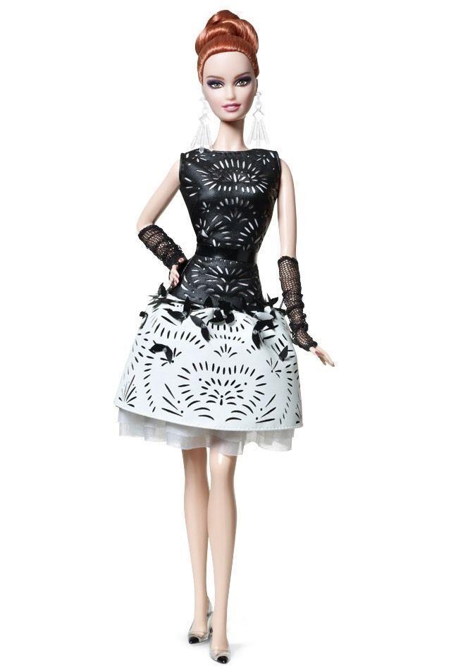 Club de fans BCR07 platino etiqueta Láser blancoo y Negro-Muñeca Barbie Vestido De Cuero