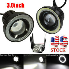 "3.0"" Car Fog Light Lamp COB LED Projector White Halo Ring DRL Driving Bulbs"