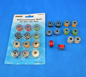 12-Metall-Naehmaschinenspulen-Naehspulen-Garnspule-Naehmaschine-Spulen-mit-Garn