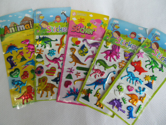 KIDS 3D PUFFY REUSABLE STICKERS CARS INSECTS ANIMALS FASHION DINOSAUR BIRDS CATS