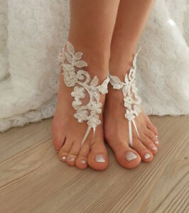White Lace Woman Anklets Barefoot Sandals Shoes Beach Foot Chain Costume