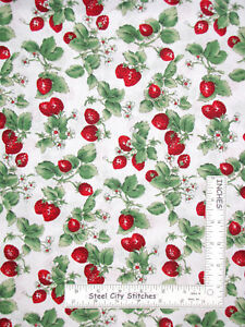Strawberries-Strawberry-Blossom-Fruit-Cotton-Fabric-David-Textiles-By-The-Yard