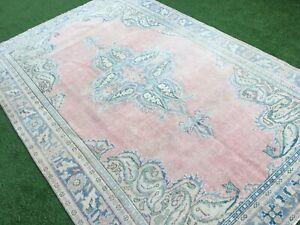 6'8''x9'11'' Distressed Vintage Turkish Rug,Faded Ushak Carpet,Oushak Large Rug