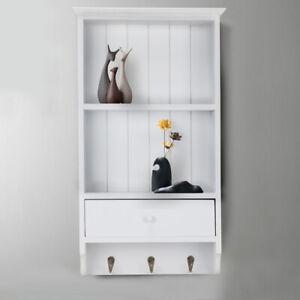 Shabby Chic Vintage French Grey Kitchen Wall Shelf Storage Unit Spice Rack Metal