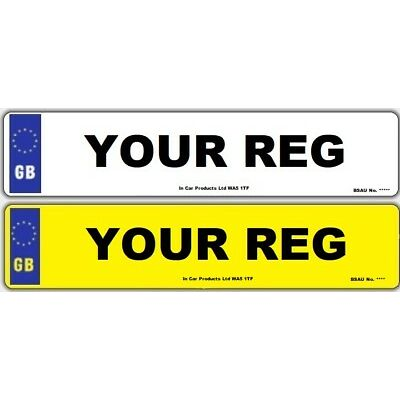Pair Standard MOT UK Road Legal Car Van Reg Registration Number Plate & Fixings