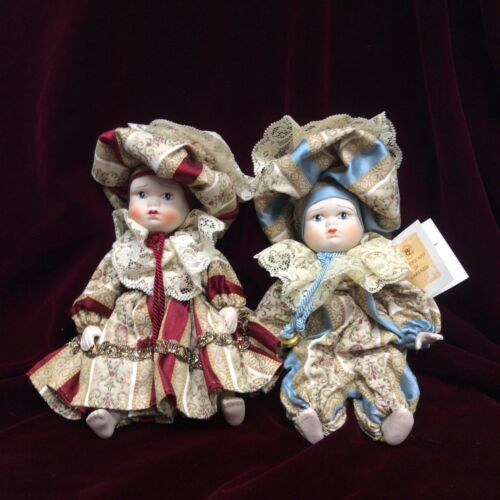 "Vtg Capodimonte Porcelain 9"" BOY & GIRL DOLL Lot w Tag Italy No Box"