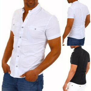 UK-STOCK-Mens-Summer-Short-Sleeve-Shirts-Casual-Cotton-Formal-Slim-Fit-Shirt